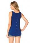 AJC Damen Top Tank Tanktop Shirt Ärmellos Zierknopfleiste Oversize Blau 636565