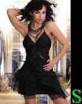 Corsetti Sexy Minikleid Kleid + String Schwarz Gr. S 36