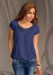 LTB Damen Shirt T-Shirt Bluse Tunika Häkel kurzarm Top blau 687555