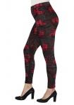 Sheego Damen Leggings Hose lang Karo-Muster Leggins Stretch rot schwarz 825009