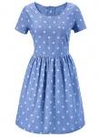 Aniston Damen Jeanskleid Kleid kurzarm Punkte Muster blau getupft 299561