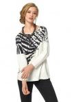 Aniston Damen Shirt 3/4 Arm Pullover T-Shirt Print Tunika ecru Gr. 36 447846