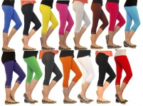 Mädchen Kinder Leggings Leggins Capri 3/4 kurz mit Spitze kurze Hose Baumwolle