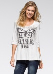 Rainbow Damen Shirt 3/4 Arm Schmetterling-Print T-Shirt Tunika ecru 903248