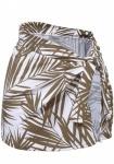 Heine Damen Druckrock Rock Knotenrock Knoten Skirt Mini weiß braun Gr. 38 127897