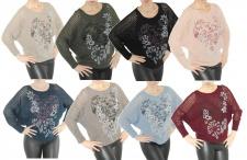 Pullover Strick Pulli Love-Blumen Fledermausärmel Top-Netz leicht Wolle