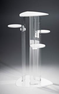 Hochwertige Acryl-Glas Blumensäule mit 4 Ablageflächen, Ablagen und Standfuß ...