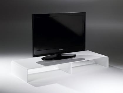 Hochwertiger Acryl-Glas TV-Tisch, TV-Rack, weiß, 80 x 40 cm, H 15 cm, Acryl-G...