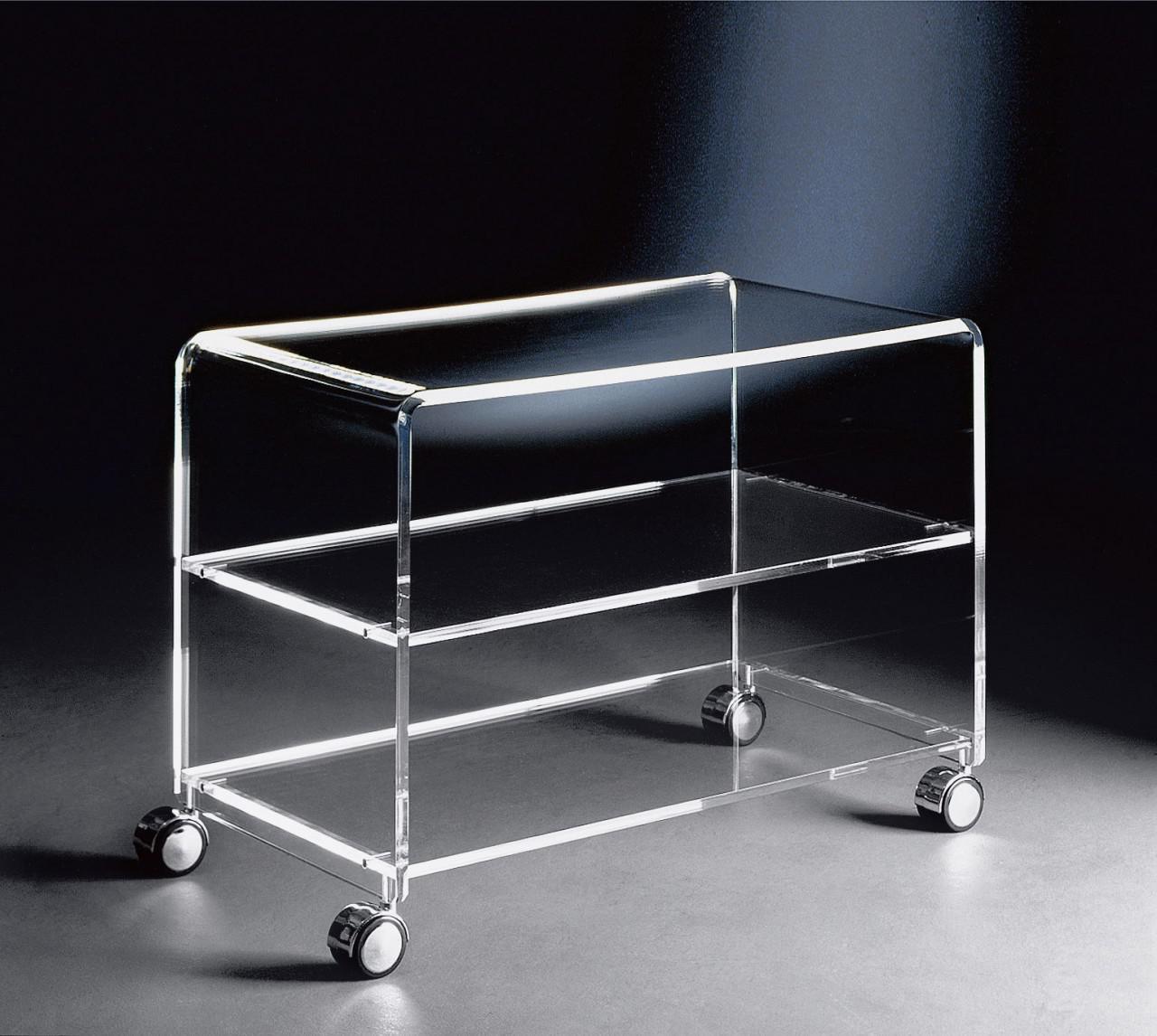 Hochwertiger acryl glas tv wagen tv tisch mit 4 chromrollen klar