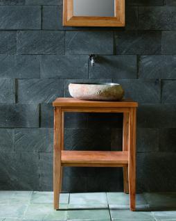 Waschtisch-Set, bestehend aus Tisch+Waschbecken+Spiegel, aus Teakholz / Fluss...
