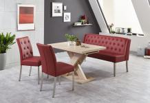 Moderne Bankgruppe / Essgruppe Bordeaux, 1 Bank, 2 Stühle, 1 Wangentisch, mit...