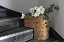 Treppenkorb aus Bananenblattgeflecht, mit Henkel, B 40 x T 22 x H 40 cm, in 2...