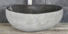 Aufsatzwaschbecken aus Flussstein, ca. B35 x T30 x H13, 5 cm