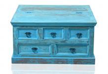"""Couchtischtruhe / Beistelltisch, """" Washed Look"""", Altholz, blau, B90 x T90 x H4..."""