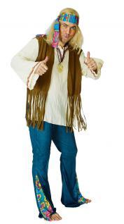 Hippie Hippie-kostüm Flower Power 60er 70er orange Peace Herren-Kostüm KK