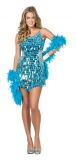 Karneval Klamotten Kostüm Kleid Pailletten türkis Karneval Show Damenkostüm