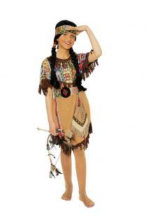 Indianer Kostüm Kinder-Kostüm Indianerin Kostüm Mädchen Kostüm beige KK