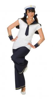Kostüm Matrosin Matrosen Damen-Kostüm Hose Karneval Matrosen-Kragen KK