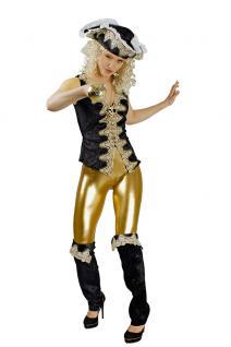 Karneval Klamotten Kostüm Piratenweste de luxe schwarz Dame Kostüm Abenteuer