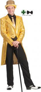 Karneval Klamotten Kostüm Herren Frack Pailletten gold mit Fliege schwarz