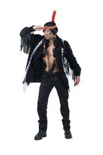 Karneval Klamotten Kostüm Jacke Indianer Western schwarz Karneval Herrenkostüm