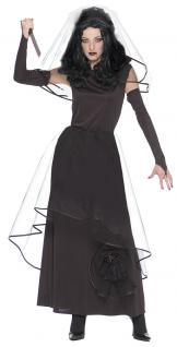 Hexenkostüm Gothic Braut Dame Hexe Halloween Horror Brautkleid Damenkostüm KK