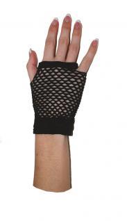 Netzhandschuhe schwarz Fingerlose Netz-Handschuhe Halloween Karneval KK