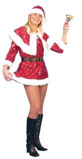 Karneval Klamotten Kostüm Weihnachtsfrau Pailletten Sexy Dame Weihnachten