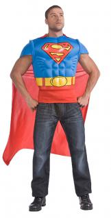 Karneval Klamotten Kostüm Superman Shirt mit Cape Kostüm Mann Comics Herren
