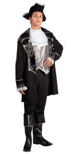 Karneval Klamotten Kostüm Jacke Pirat schwarz silber Herr Abenteuer Herrenkostüm
