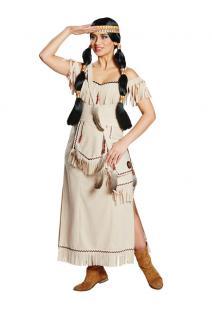 Indianer Damen Kostüm Indianerin Kostüm lang Dame Squaw Damenkostüm KK