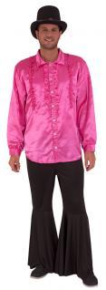 Karneval Klamotten Kostüm Rüschenhemd pink Party Flower Power Herrenkostüm