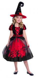 Karneval Klamotten Hexe Luxus rot schwarz Karneval Halloween Mädchenkostüm