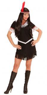 Indianer Kostüm Damen-Kostüm Indianerin Kostüm schwarz weiß Dame Squaw Kostüm KK