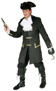 Karneval Klamotten Kostüm Piraten Mantel Herr schwarz-gold Karneval Seeräuber