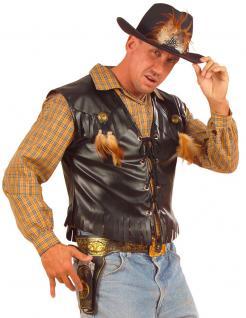 Karneval Klamotten Kostüm Weste Cowboy Western Lederlook Karneval Herrenkostüm