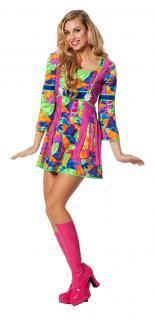 Karneval Klamotten Kostüm Flower Power Dame Blumen Kleid Hippie Damenkostüm