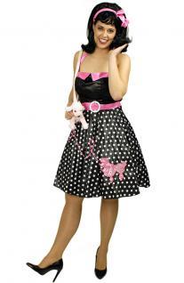 Kostüm Rock und Roll Kleid Pudel Dame Karneval 70er Jahre Kostüm Damenkostüm