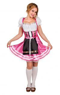 Karneval Klamotten Kostüm German Dirndl pink Dame Oktoberfest Damenkostüm
