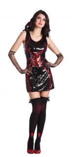 Karneval Klamotten Kostüm Sexy Spinnenkleid Pailletten Dame Halloween Horror