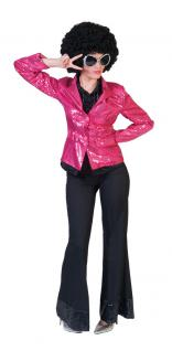 Karneval Klamotten Kostüm Pailletten Jacke pink Dame Karneval Disco Damenkostüm