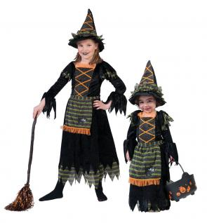 Hexenkostüm Kinder Hexe Luxus mit Schürze mit Hexenhut Halloween Hexe KK