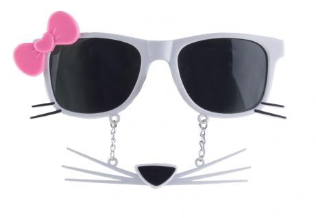 Karneval Klamotten Kostüm Brille Katze weiß Zubehör Tier Karneval