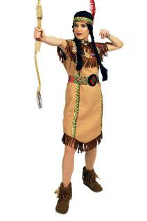 Indianer Damen Kostüm Indianerin Kostüm beige Dame Squaw Damenkostüm KK