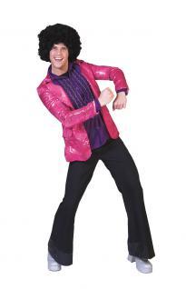 Karneval Klamotten Kostüm Pailletten Jacke pink Herr Karneval Disco Herrenkostüm