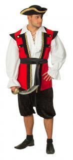 Karneval Klamotten Kostüm Pirat Seemann Herr rot schwarz Karneval Herrenkostüm