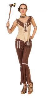 Indianer Kostüm Damen-Kostüm Indianerin Kostüm braun beige Dame Squaw Kostüm KK