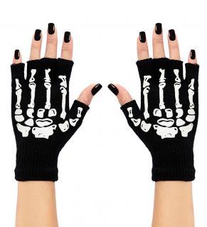 Handschuhe Skelett schwarz weiß Halloween Karneval KK