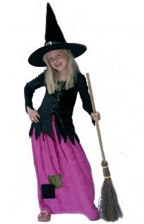 Hexenkostüm Kinder Hexe Luxus pink schwarz ohne Hexenhut Halloween Hexe KK
