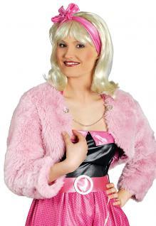 Kostüm Bolero Plüsch rosa Dame Karneval Damen Bolero Rock and Roll Damenkostüm